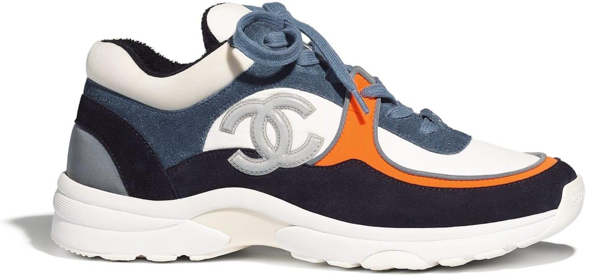 Chanel Low Top Trainer Cc White Navy (w