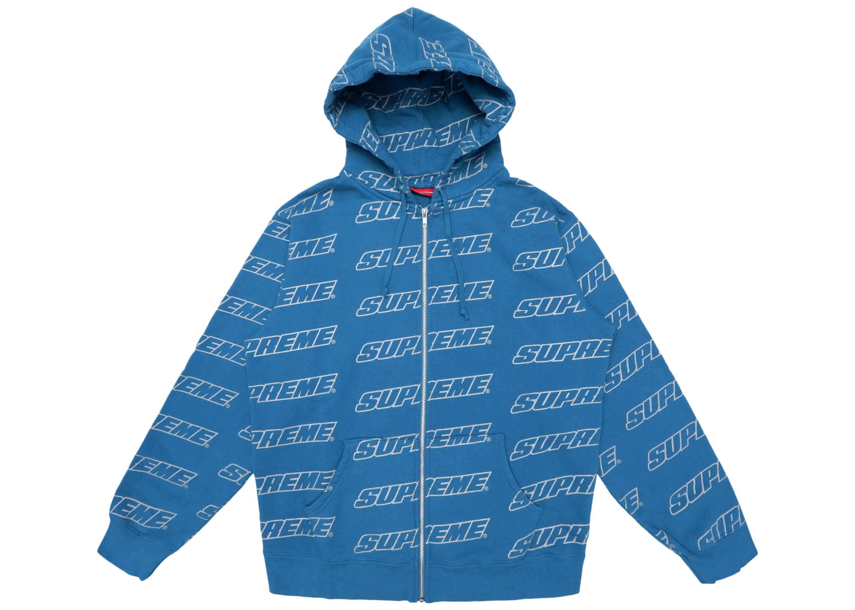 54d8654a Lyst - Supreme Repeat Zip Up Hooded Sweatshirt Dark Aqua in Blue for Men