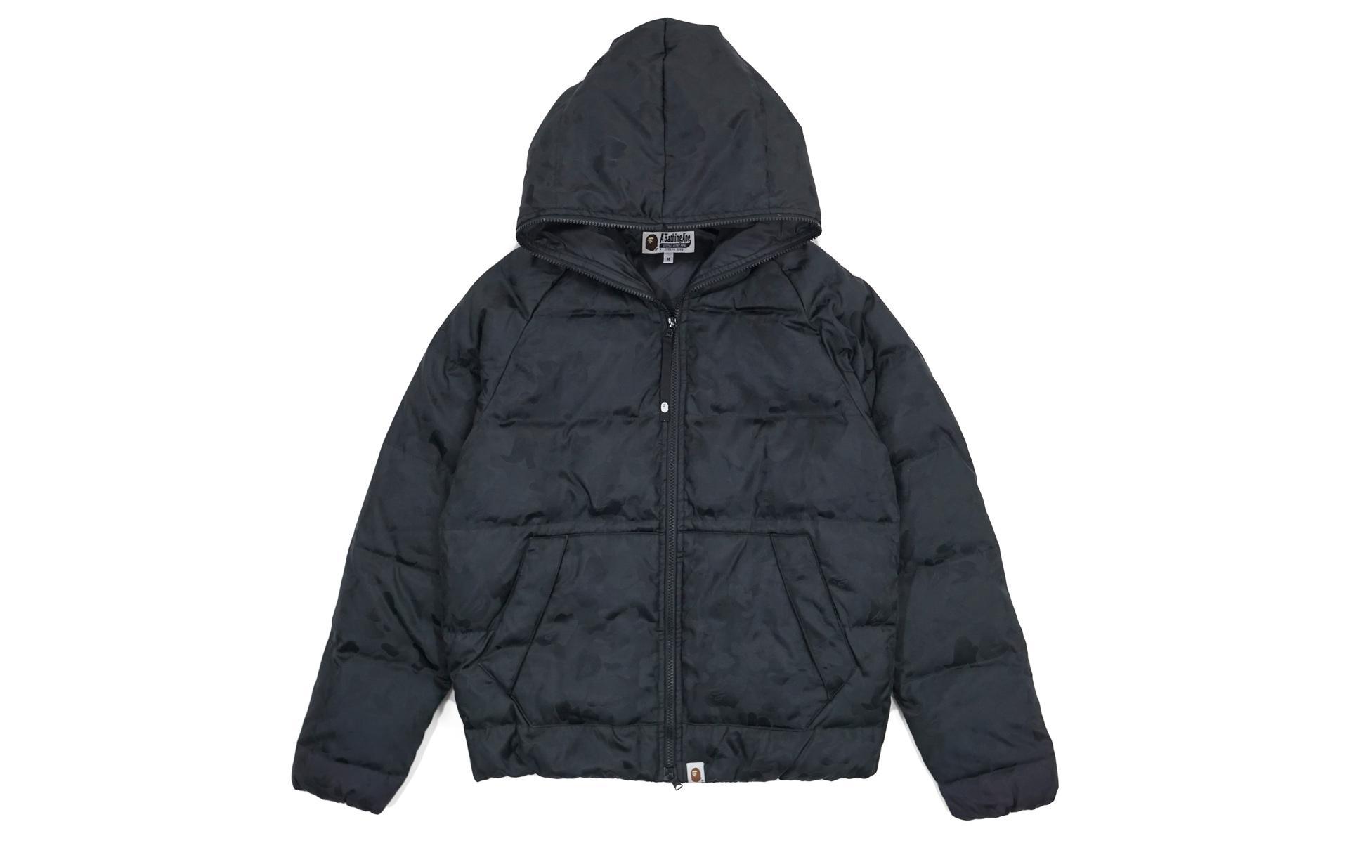 c48c18490d23 Lyst - A Bathing Ape Jacquard Camo Full Zip Nylon Down Jacket Black ...