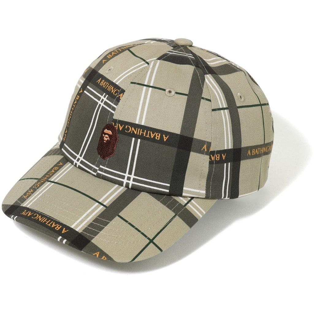 0878fd433abf Lyst - A Bathing Ape Logo Check Panel Cap Beige in Natural for Men