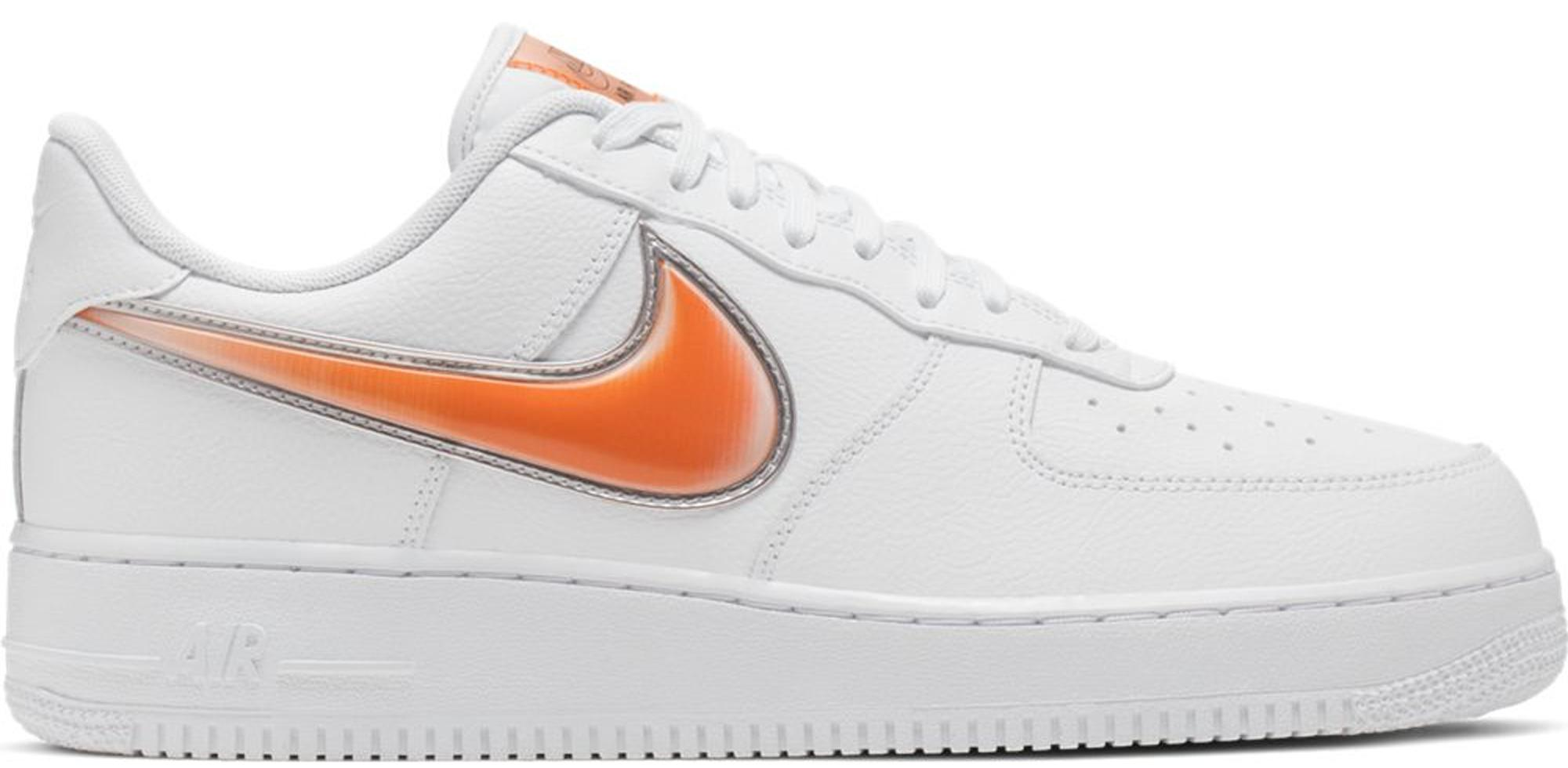 Men's Air Force 1 Low Oversized Swoosh White Orange Peel