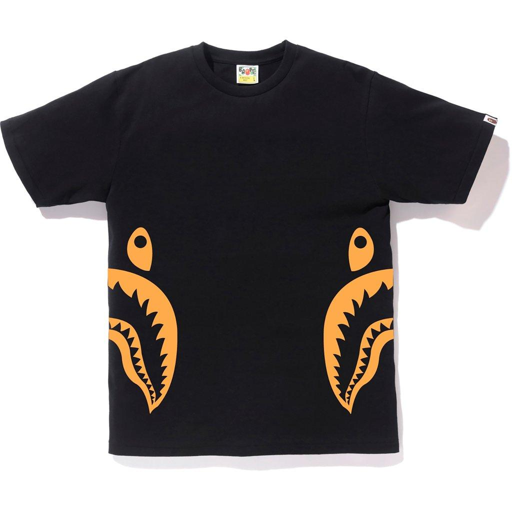 45de2d23 Lyst - A Bathing Ape Neon Bicolor Side Shark Tee Black/orange in ...