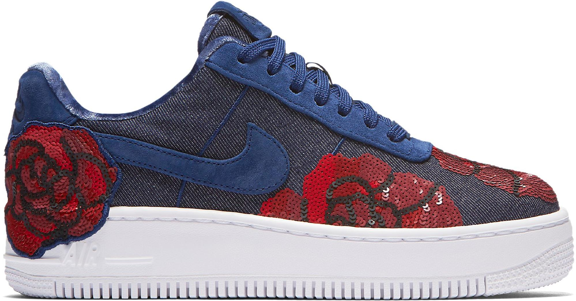 descuento Air Force 1 Upstep Low Denim Rose Sky (w) Blue