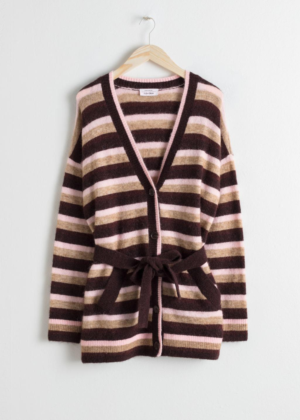 fc6125215   Other Stories Striped Belted Cardigan in Brown - Lyst