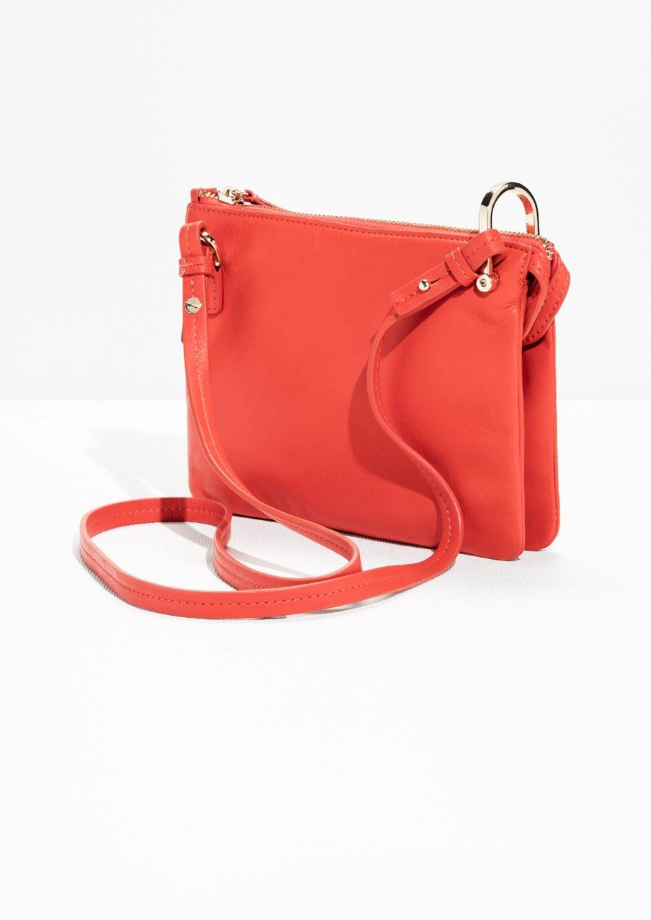 & Other Stories Leather D-ring Crossbody Bag in Orange