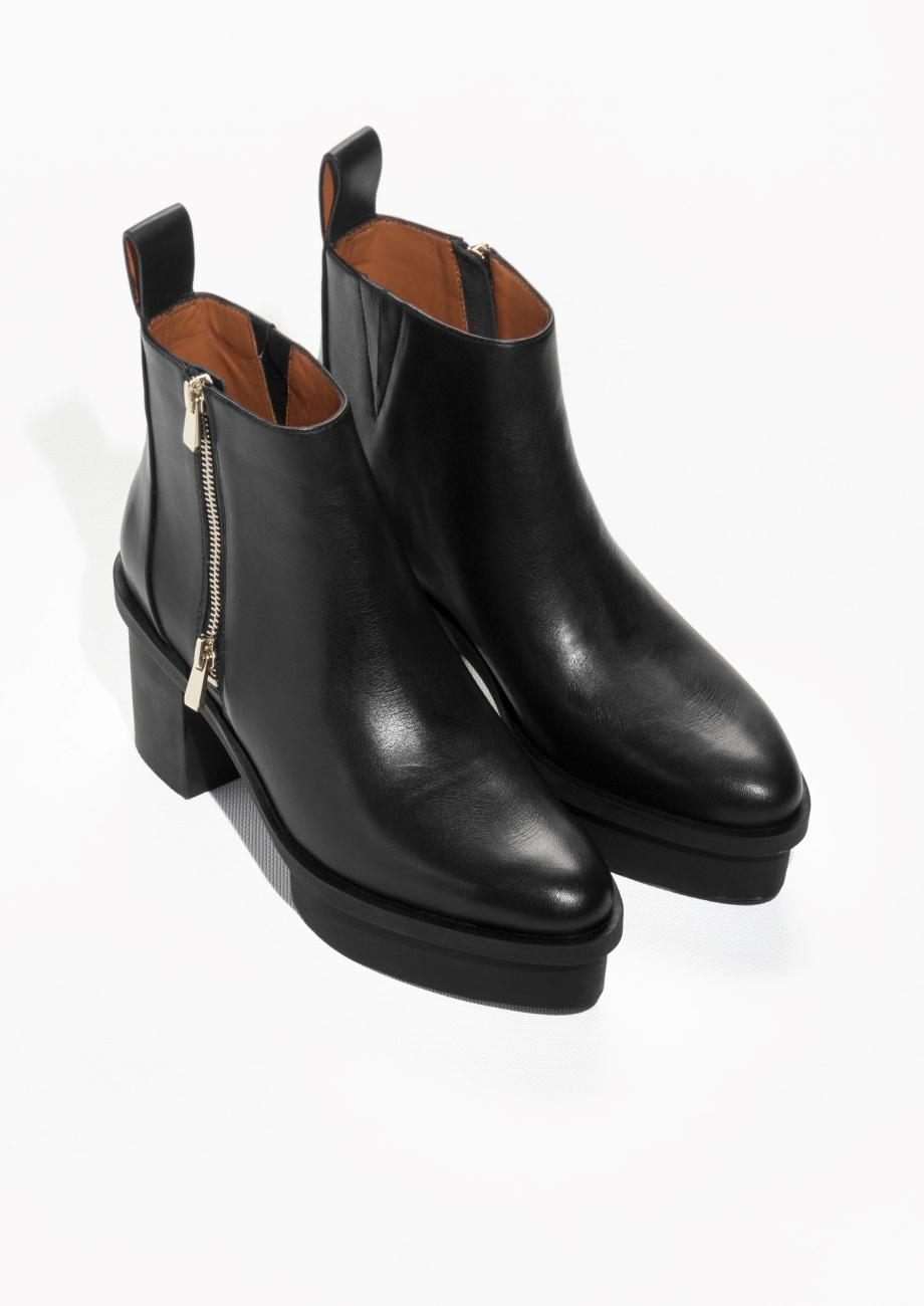 & Other Stories Rubber Heel Leather Boots in Black