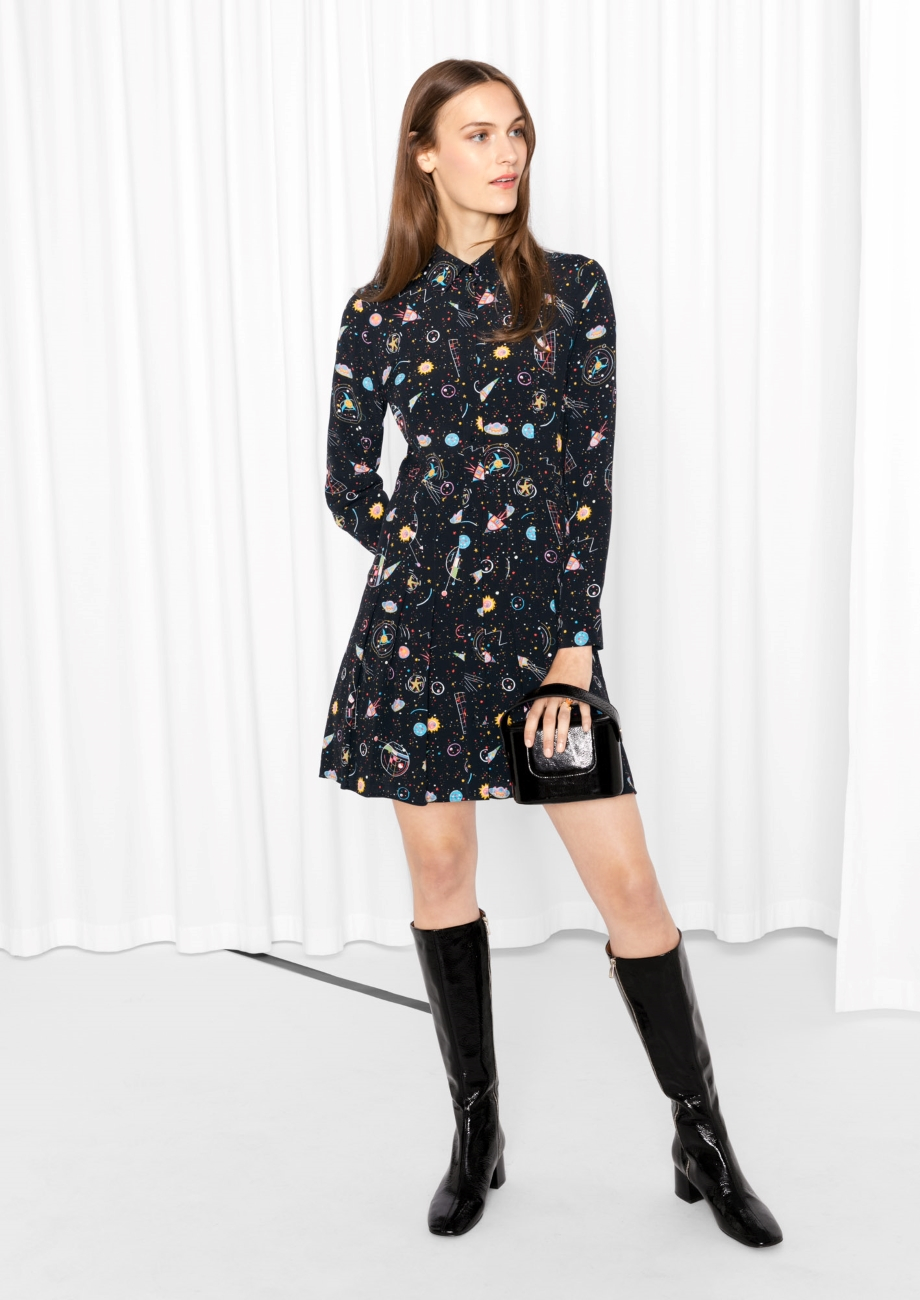 Other stories pleated shirt dress in black lyst for Black pleated dress shirt
