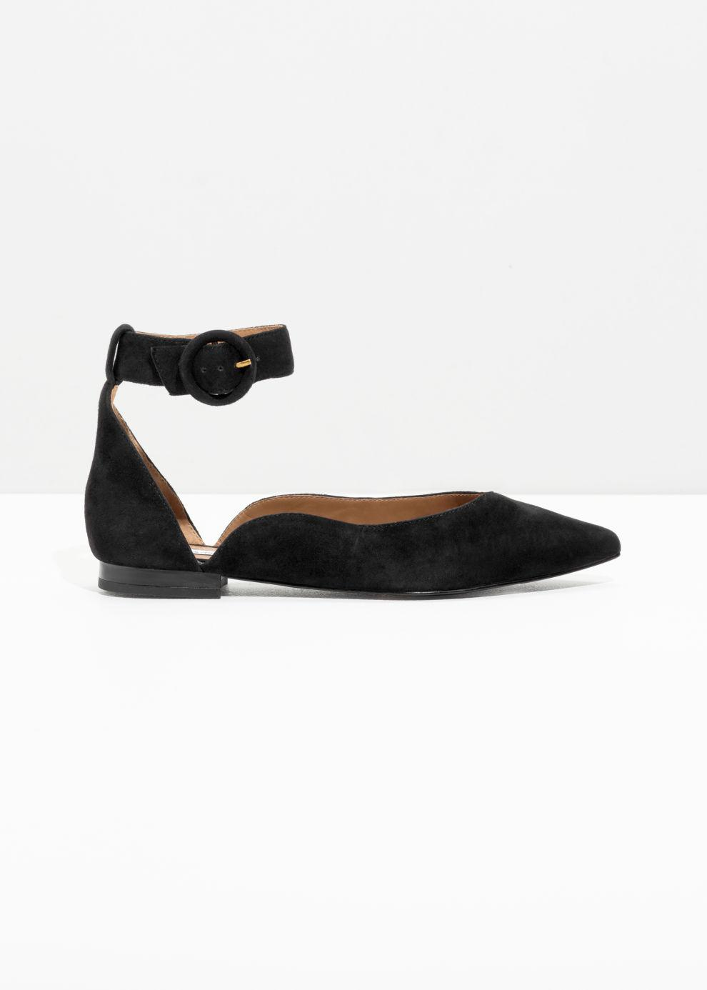 25127369b9f Lyst -   Other Stories Pointed Ankle Strap Flats in Black