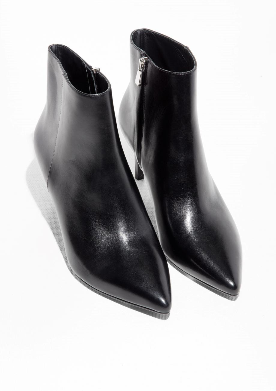 & Other Stories Leather Stiletto Ankle Boots in Black Leather (Black)