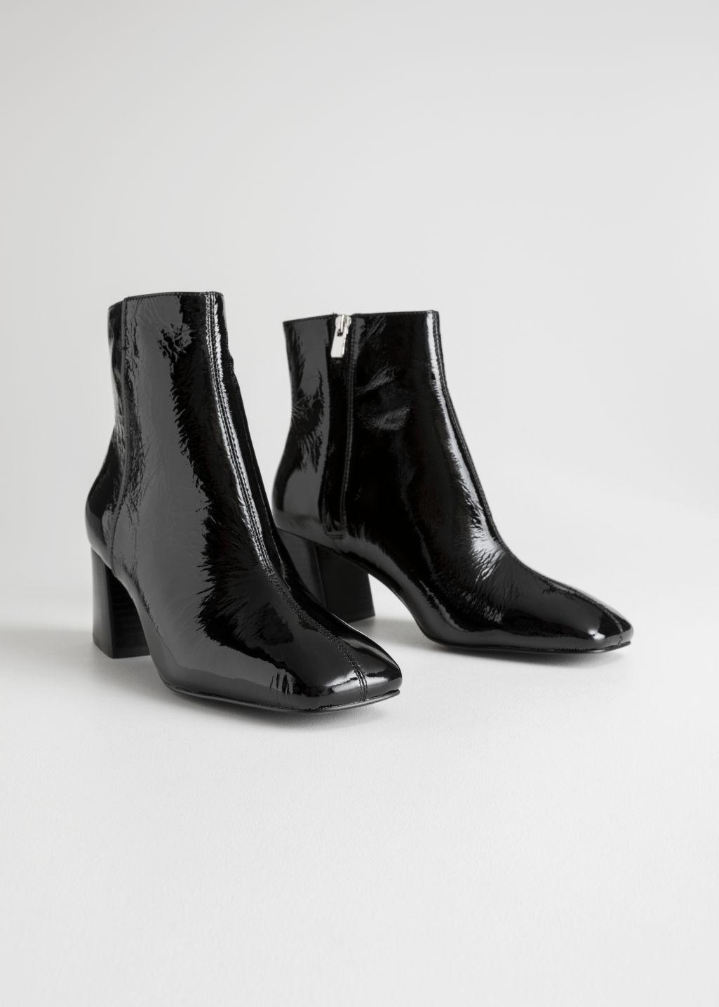 Other Stories Leather Patent Square Toe Ankle Boots In Black Lyst