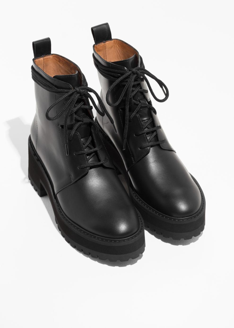 Leather Platform Lace-up Boots in Black