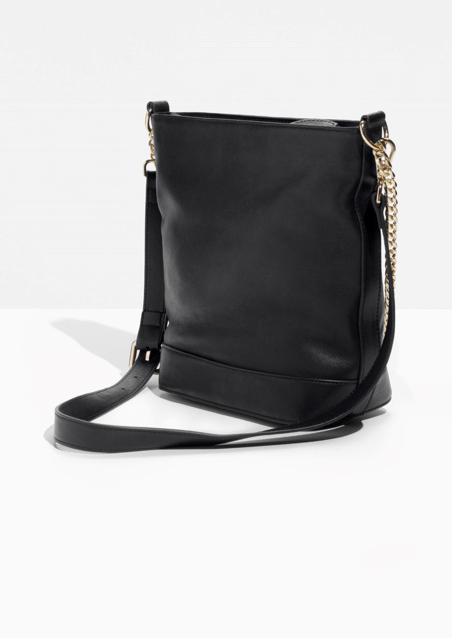 & Other Stories Leather Gold Chain Crossbody Bucket Bag in Black