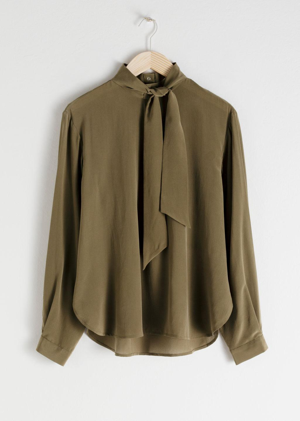 6204b9c16cfb0e   Other Stories Silk Pussy Bow Blouse in Green - Lyst