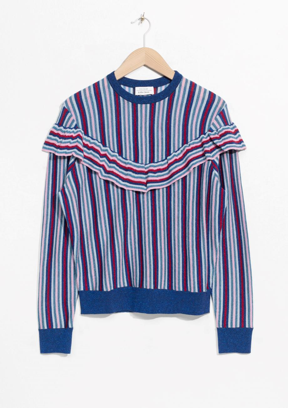 & other stories Glitter Frill Sweater in Blue | Lyst