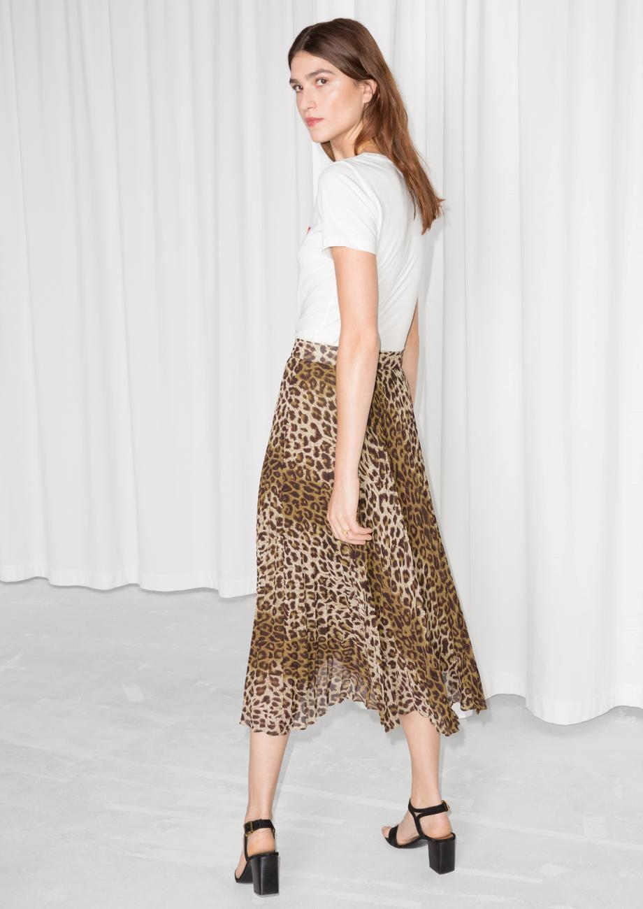 Other Stories Leopard Pleated Skirt in Brown - Lyst 7f9db929e