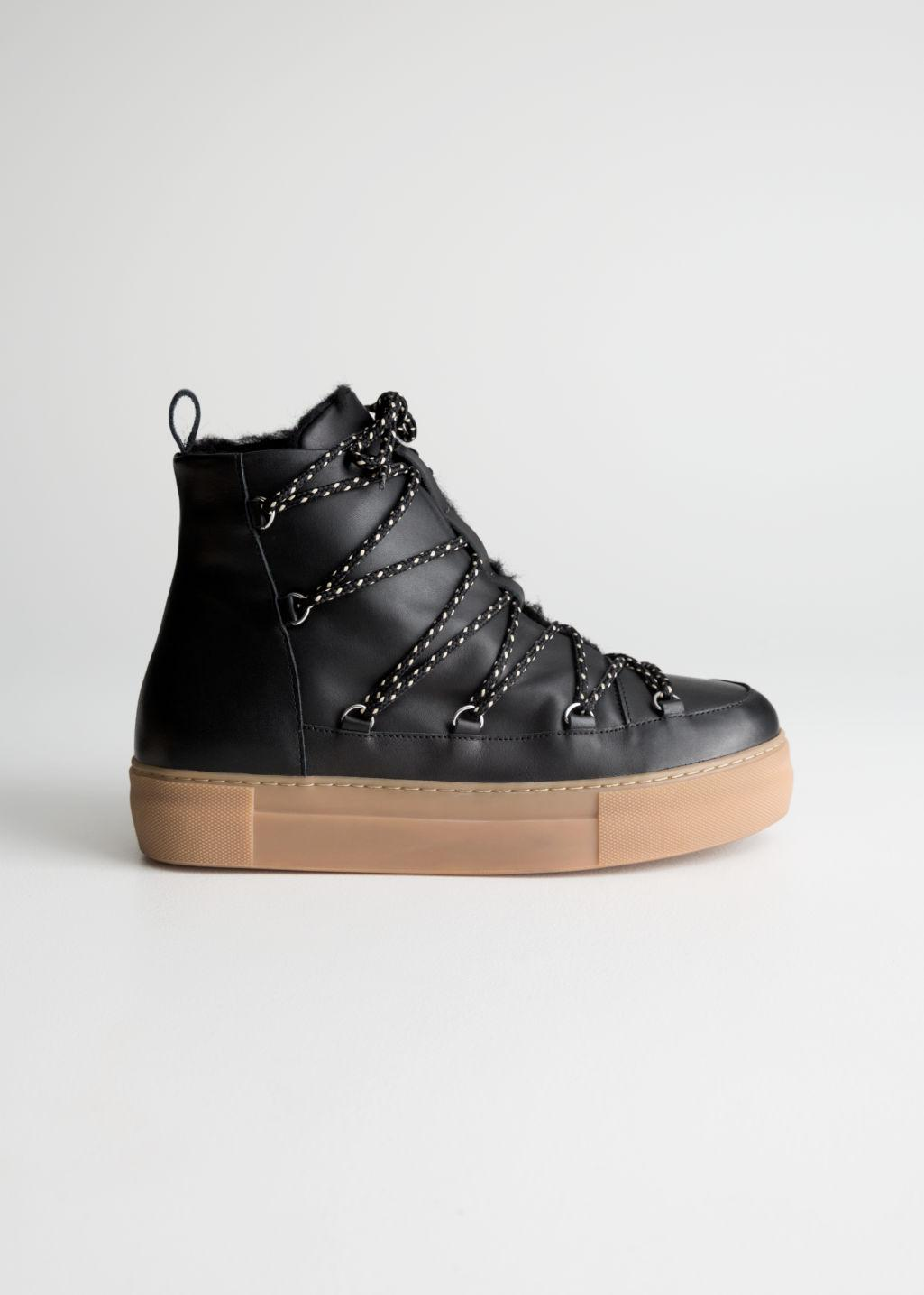 Shearling Lined Suede Snow Boots