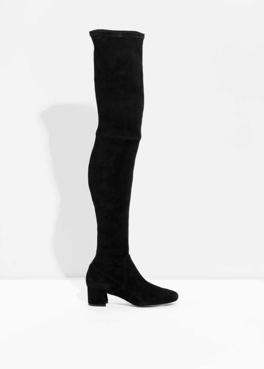 cacc676e03e Lyst -   Other Stories Slim Suede Thigh High Boots in Black - Save 40%