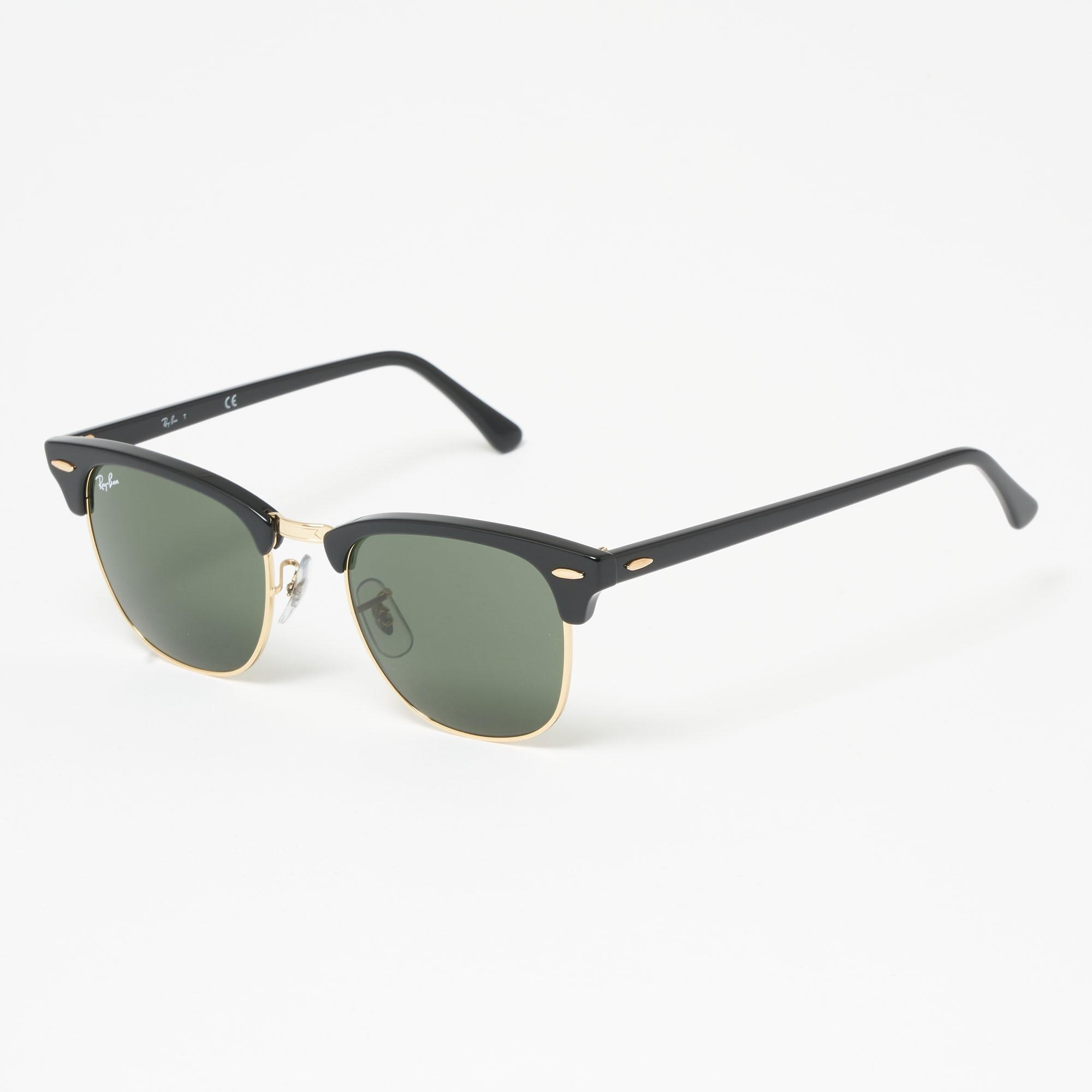 744dde4de7 Ray-Ban. Men s Black Clubround Classic Sunglasses - Green Classic G-15  Lenses