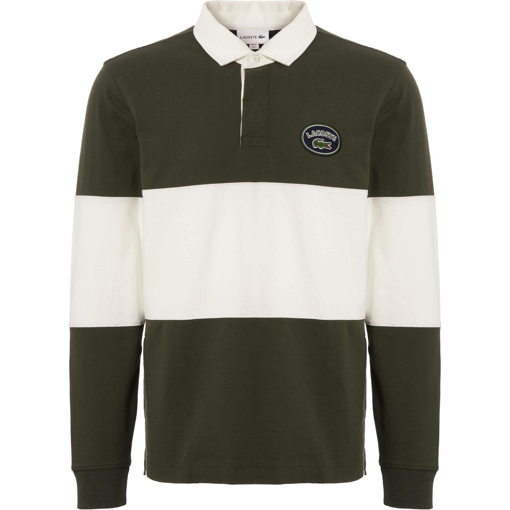 babd24e8 Lacoste Colourblock Long Sleeve Rugby Shirt - Olive & White in Green ...