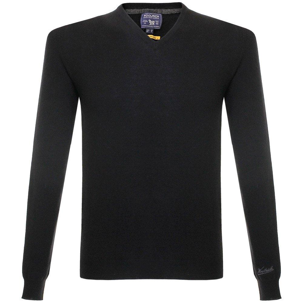 Woolrich super geelong v neck knitted black jumper in