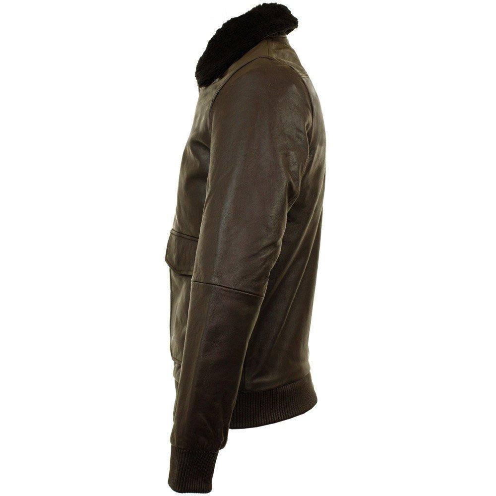 Nudie Jeans Tjalle Dark Brown Leather Pile Jacket for Men