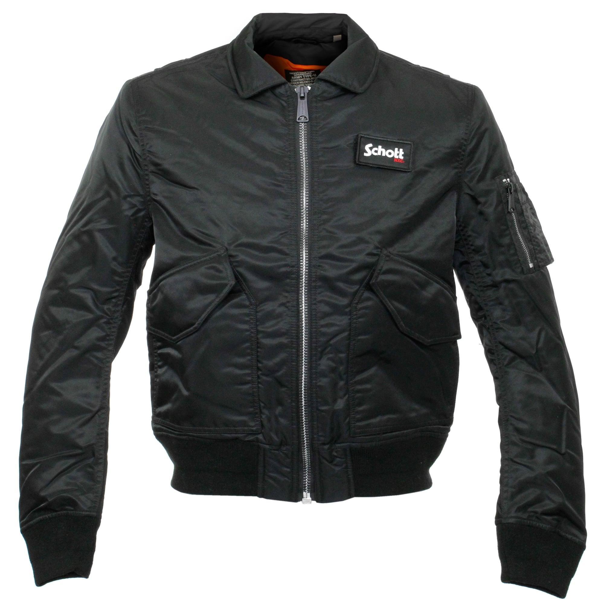 schott nyc schott cwu r black bomber flight jacket in black for men lyst. Black Bedroom Furniture Sets. Home Design Ideas