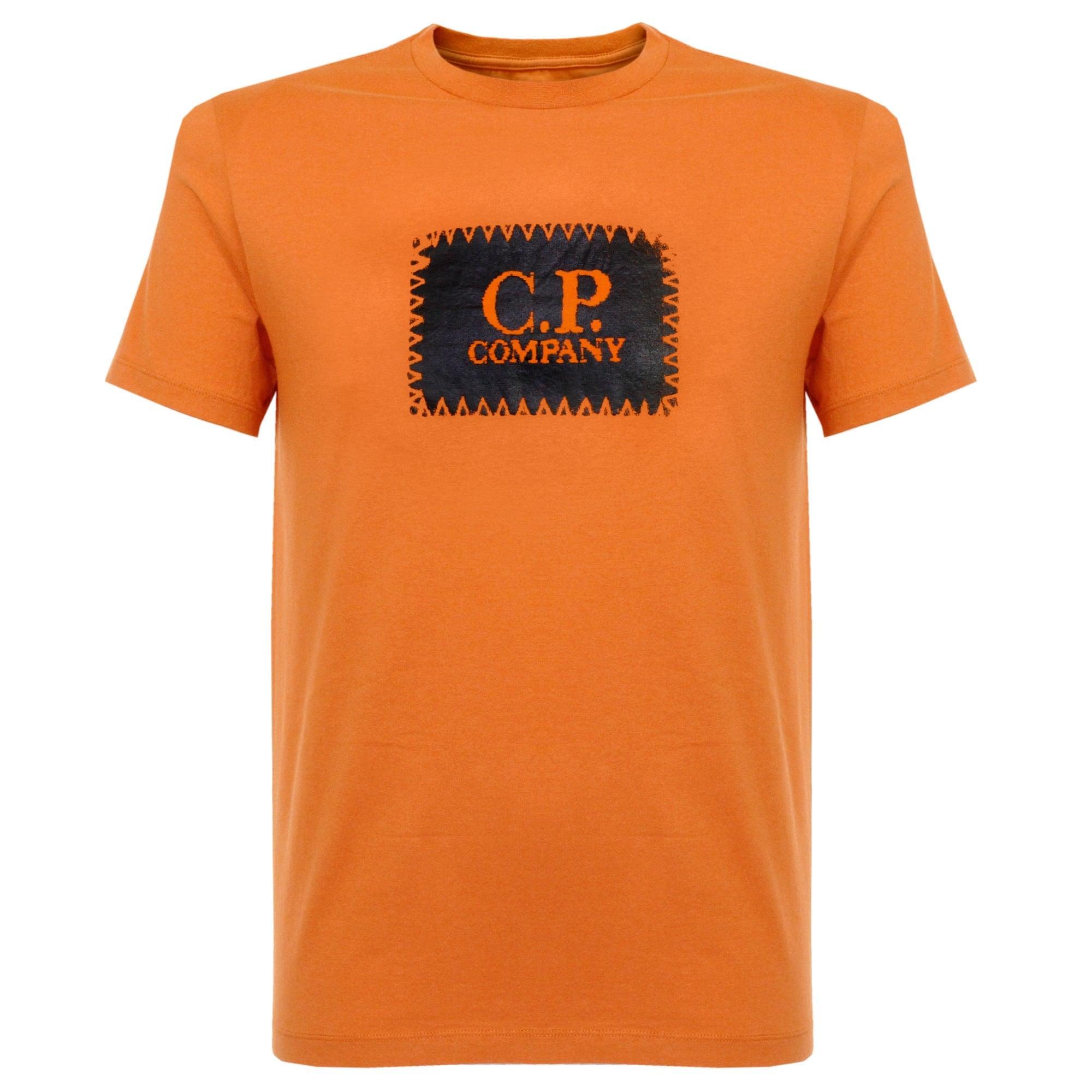 C P Company C.p Company Logo Orange T-shirt In