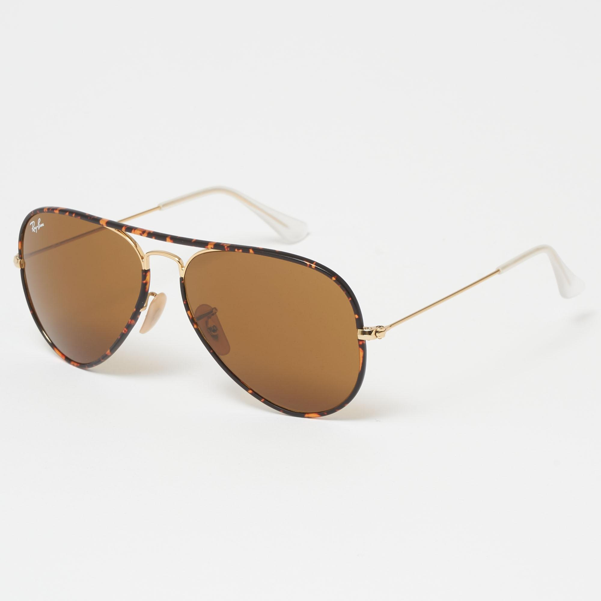 c567095f73 Lyst - Ray-Ban Tortoise Aviator Full Colour Sunglasses - Brown ...