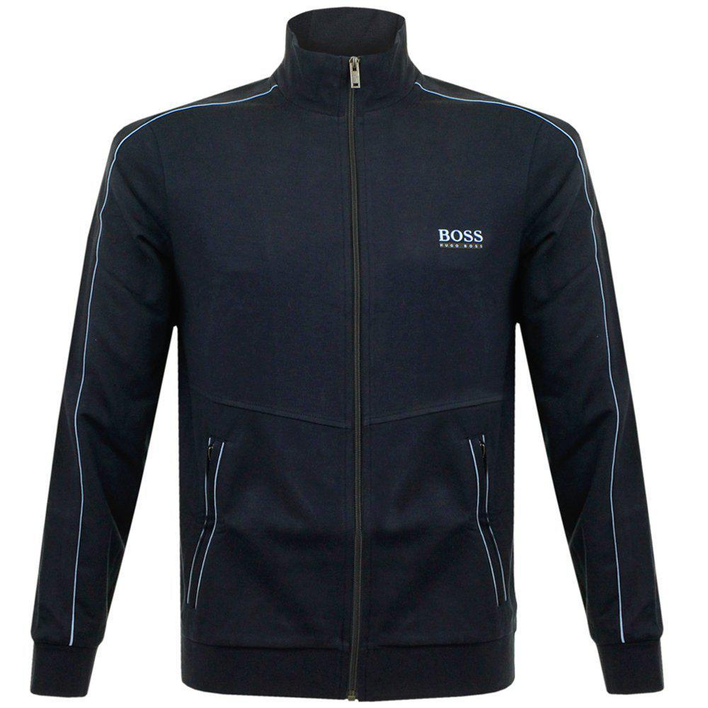 lyst boss hugo boss jacket zip deep blue track jacket in. Black Bedroom Furniture Sets. Home Design Ideas