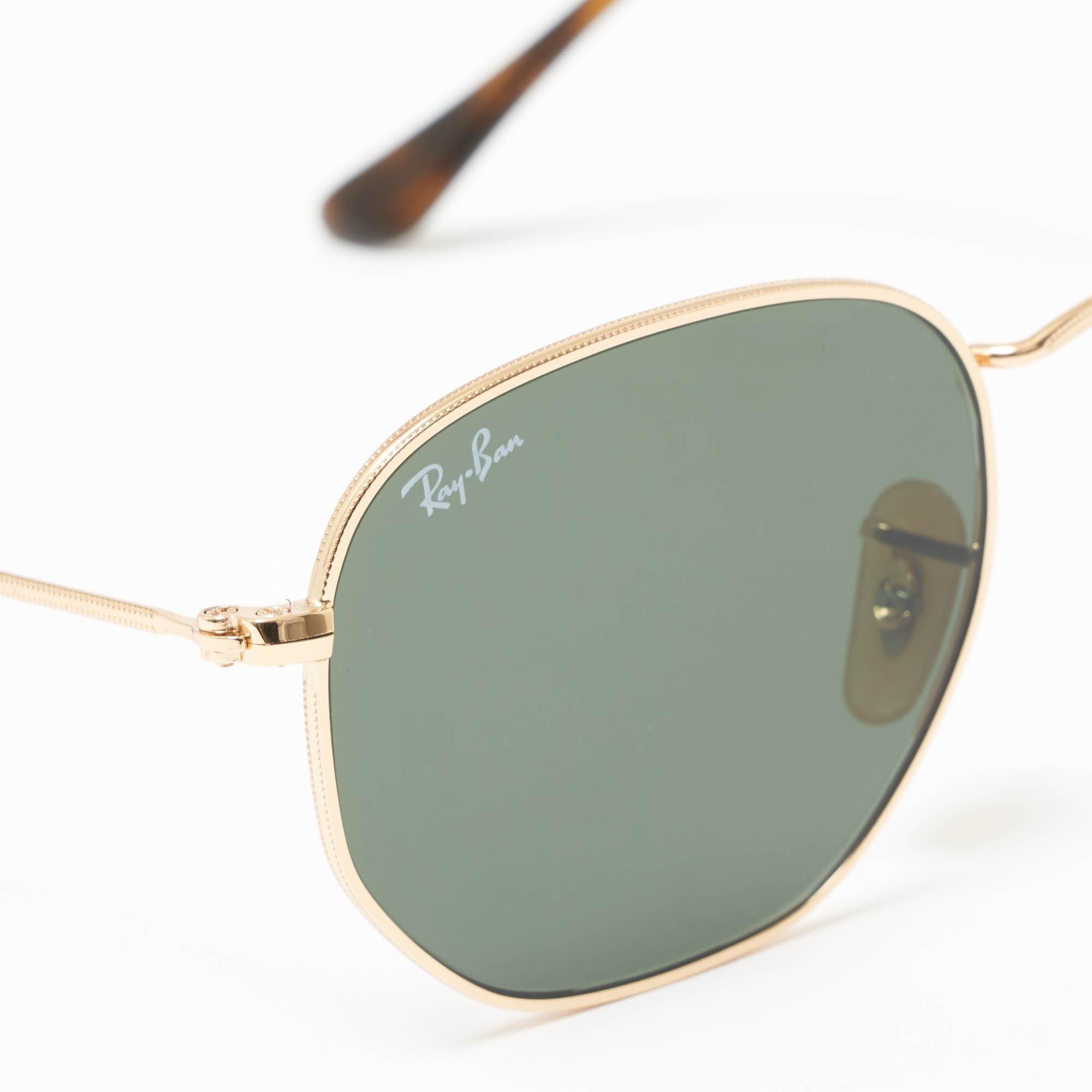 7981c24008f94 Ray-Ban - Metallic Gold Hexagonal Flat Lens Sunglasses - Green Classic G-15.  View fullscreen