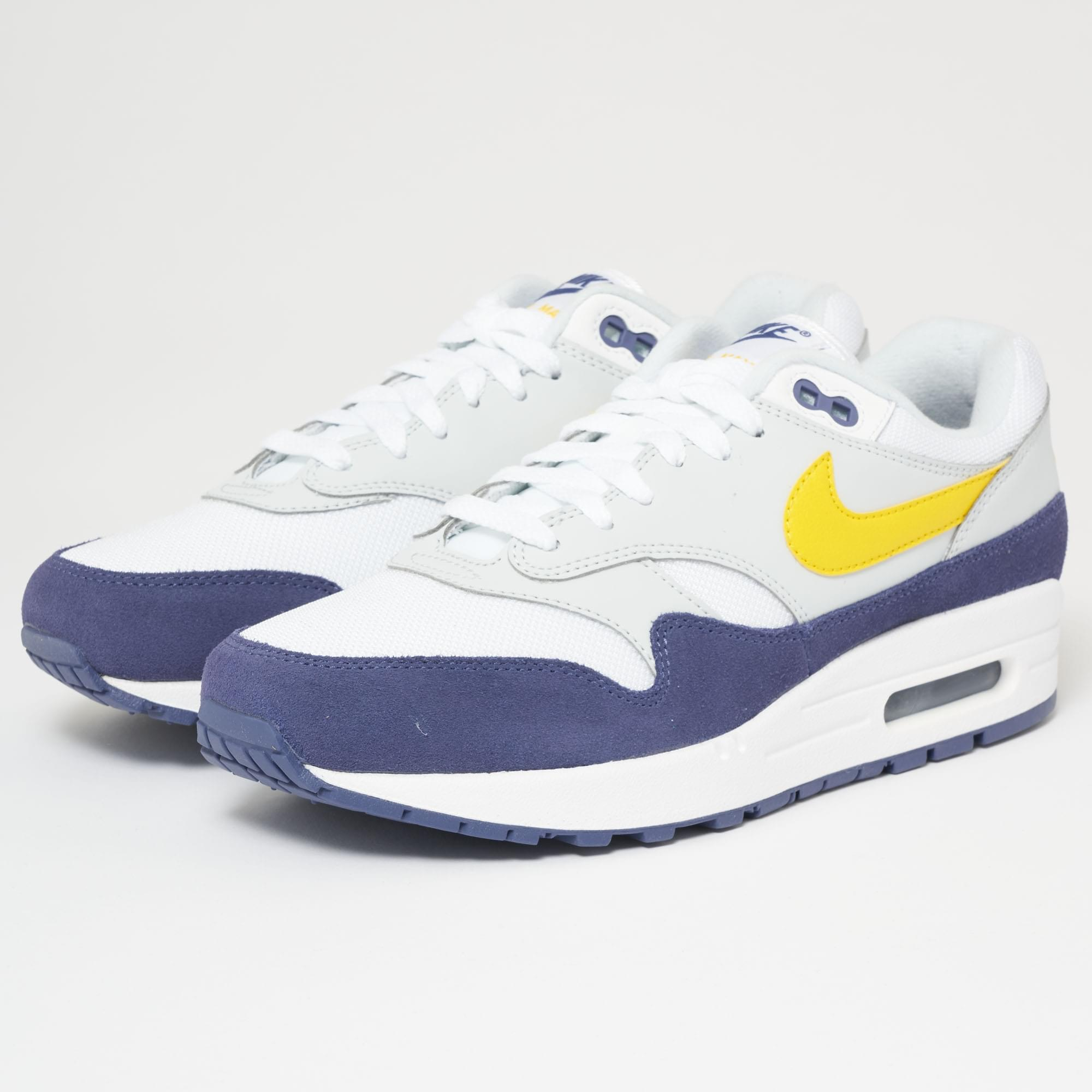 timeless design ad44c 1e82f Nike Air Max 1 - White, Blue Recall, Pure Platinum   Tour Yellow in ...