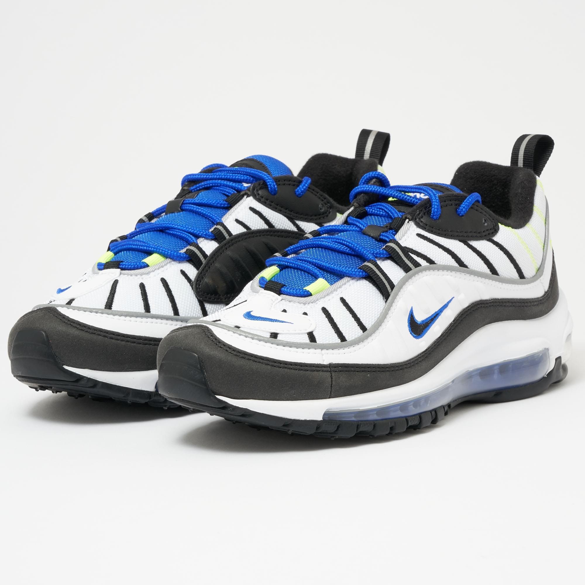 nike air max 98 white black racer blue