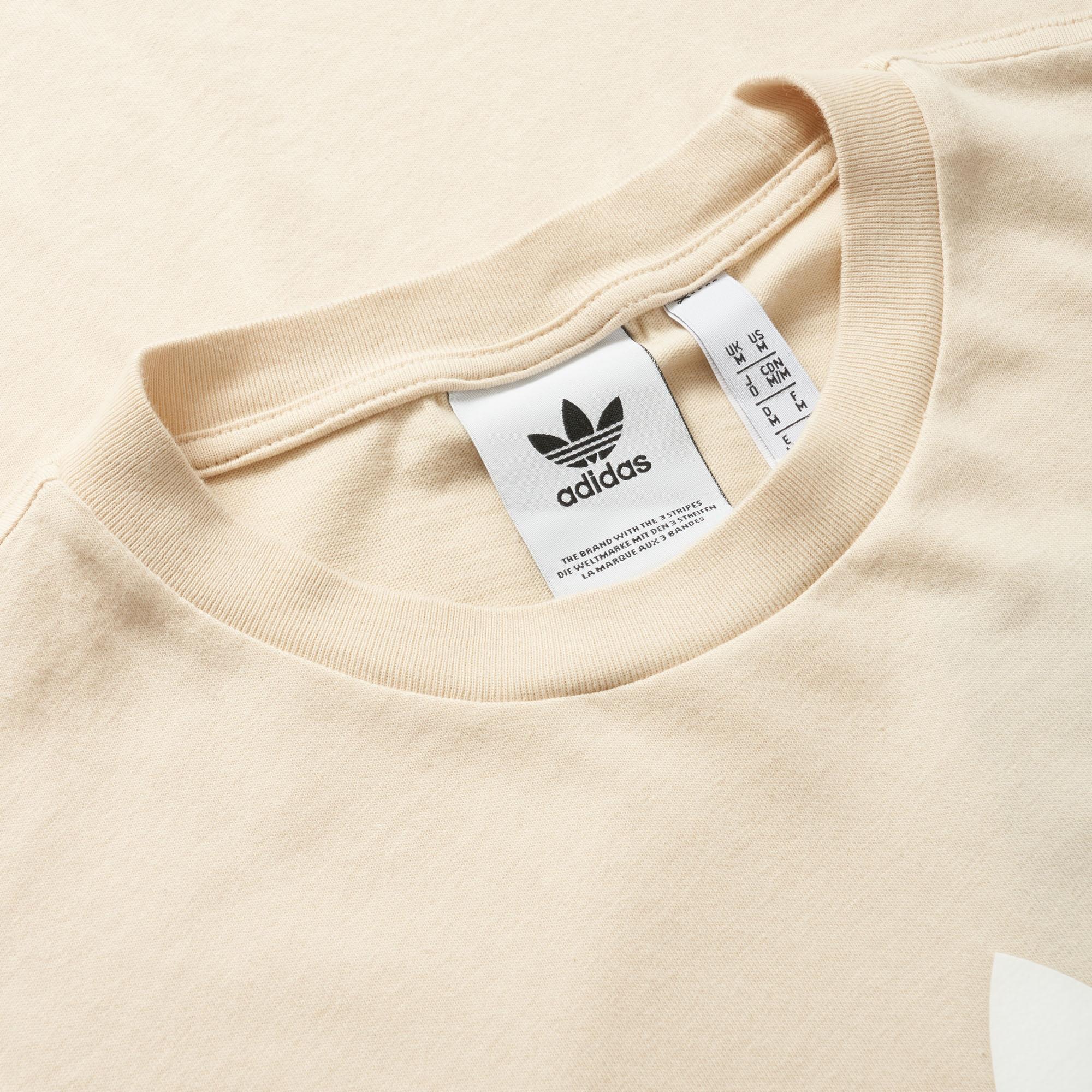 adidas Originals Linen Trefoil Tee in Natural for Men