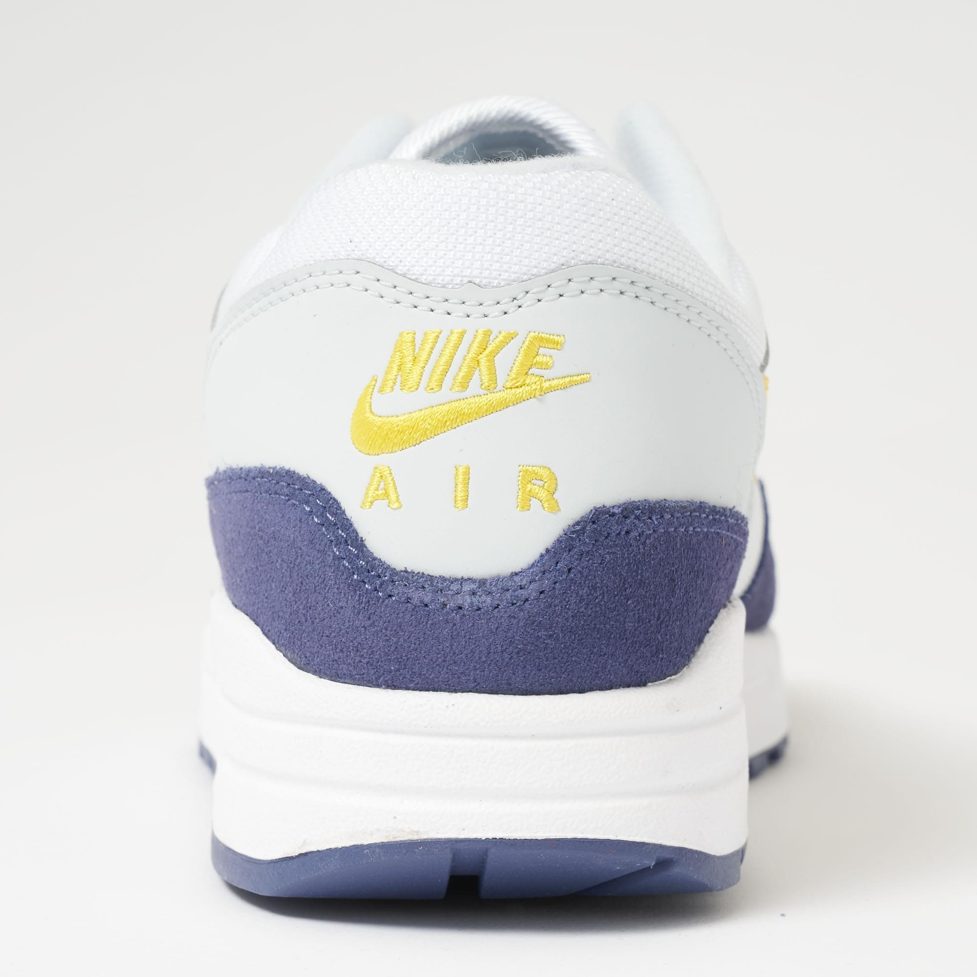timeless design 34b17 7ca12 Nike Air Max 1 - White, Blue Recall, Pure Platinum   Tour Yellow in ...