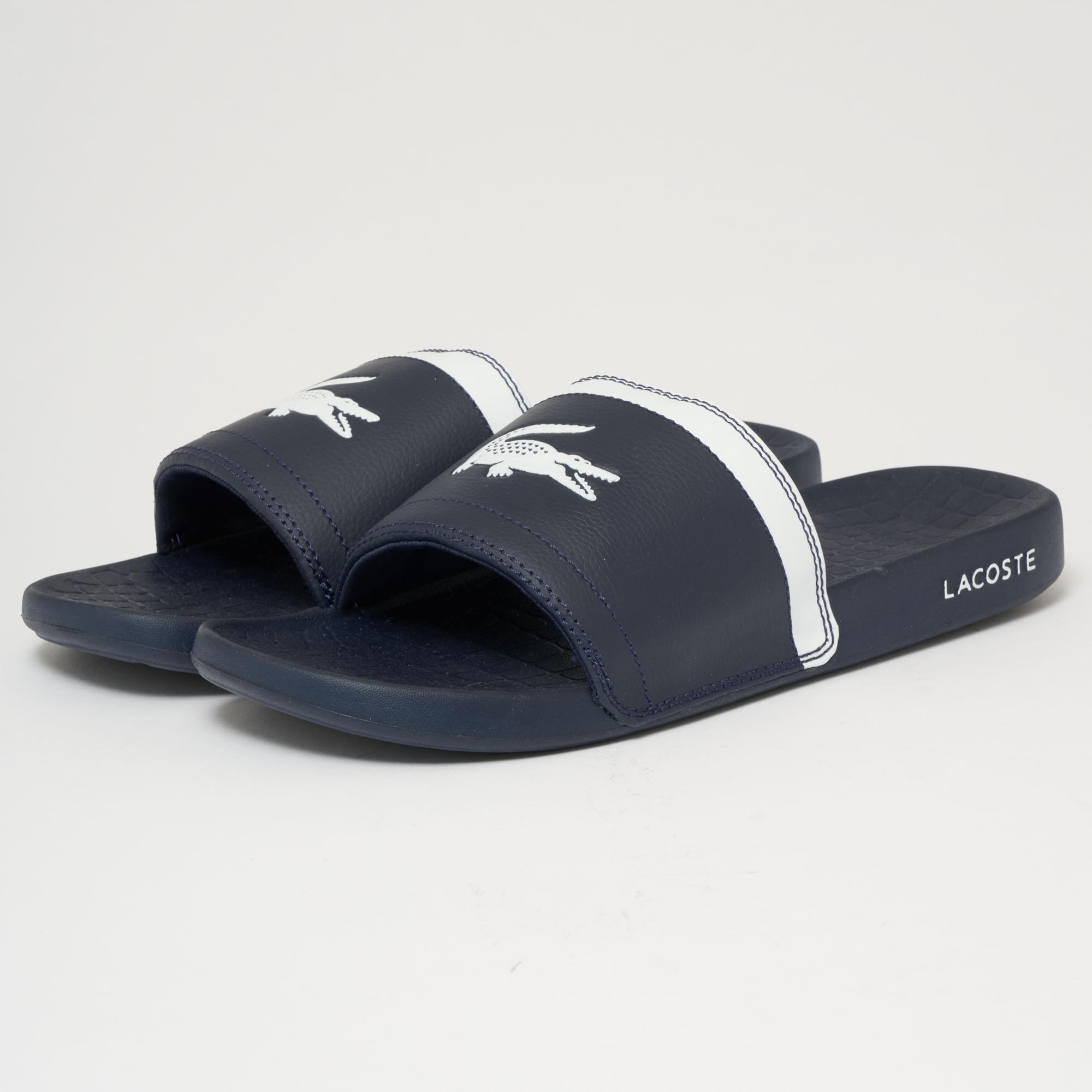 ab7e2f602f82 Lacoste Fraisier Slides - Navy   White in Blue for Men - Lyst