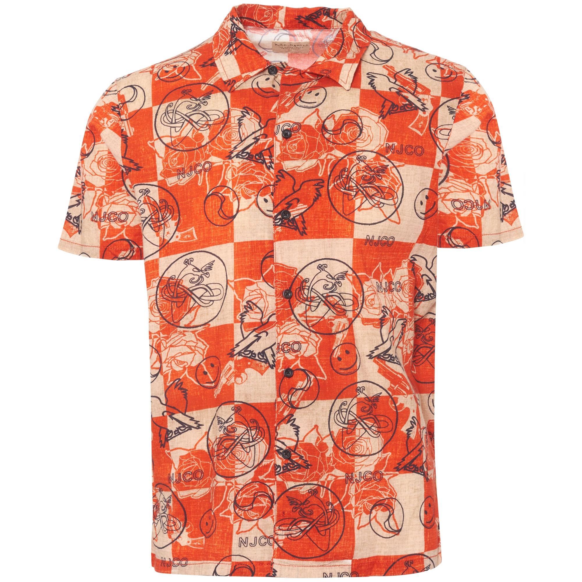 Nudie Jeans Cotton Brandon Roses Short Sleeve Regular Fit Shirt in Red for Men