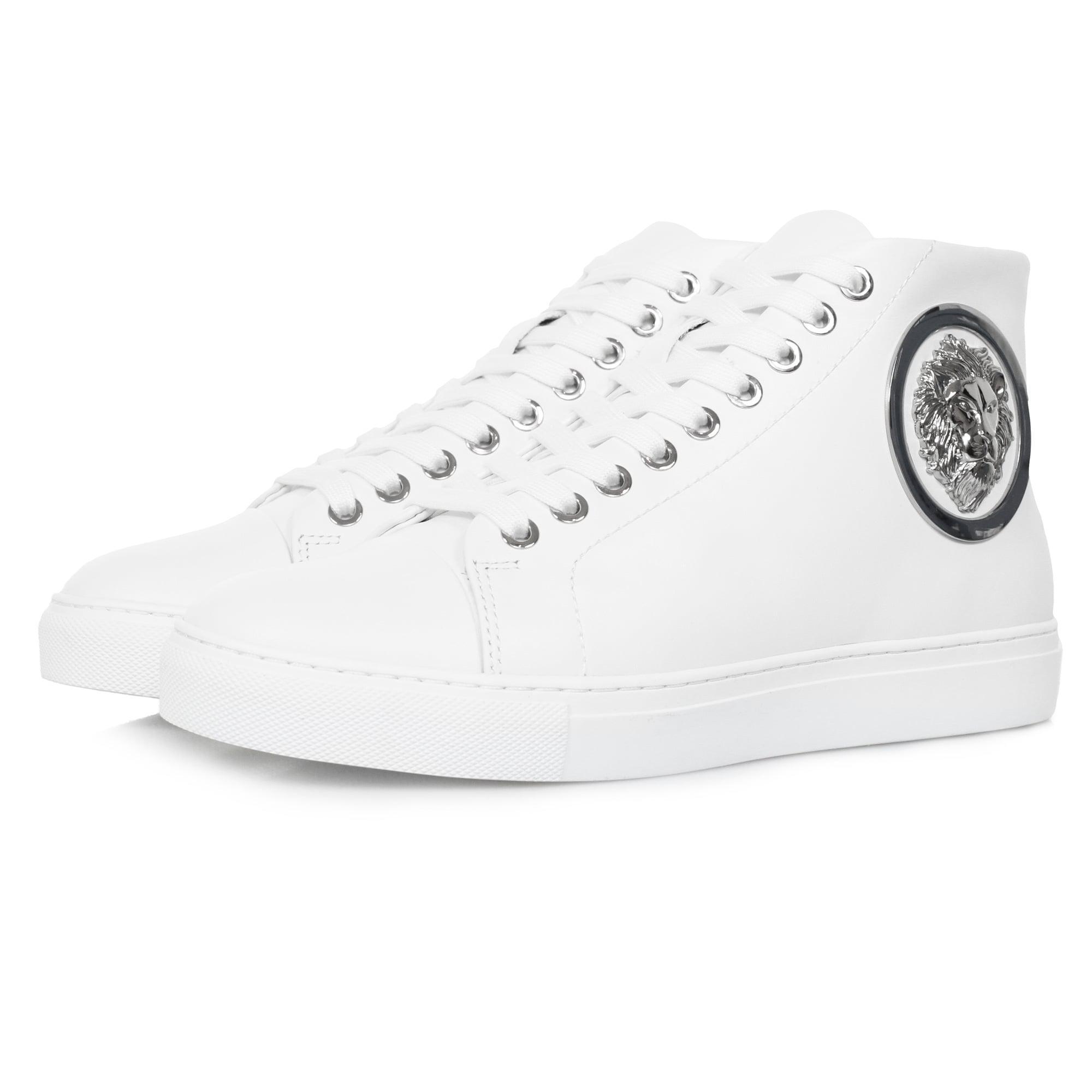 Versace Lion Head Hi Top White Shoe