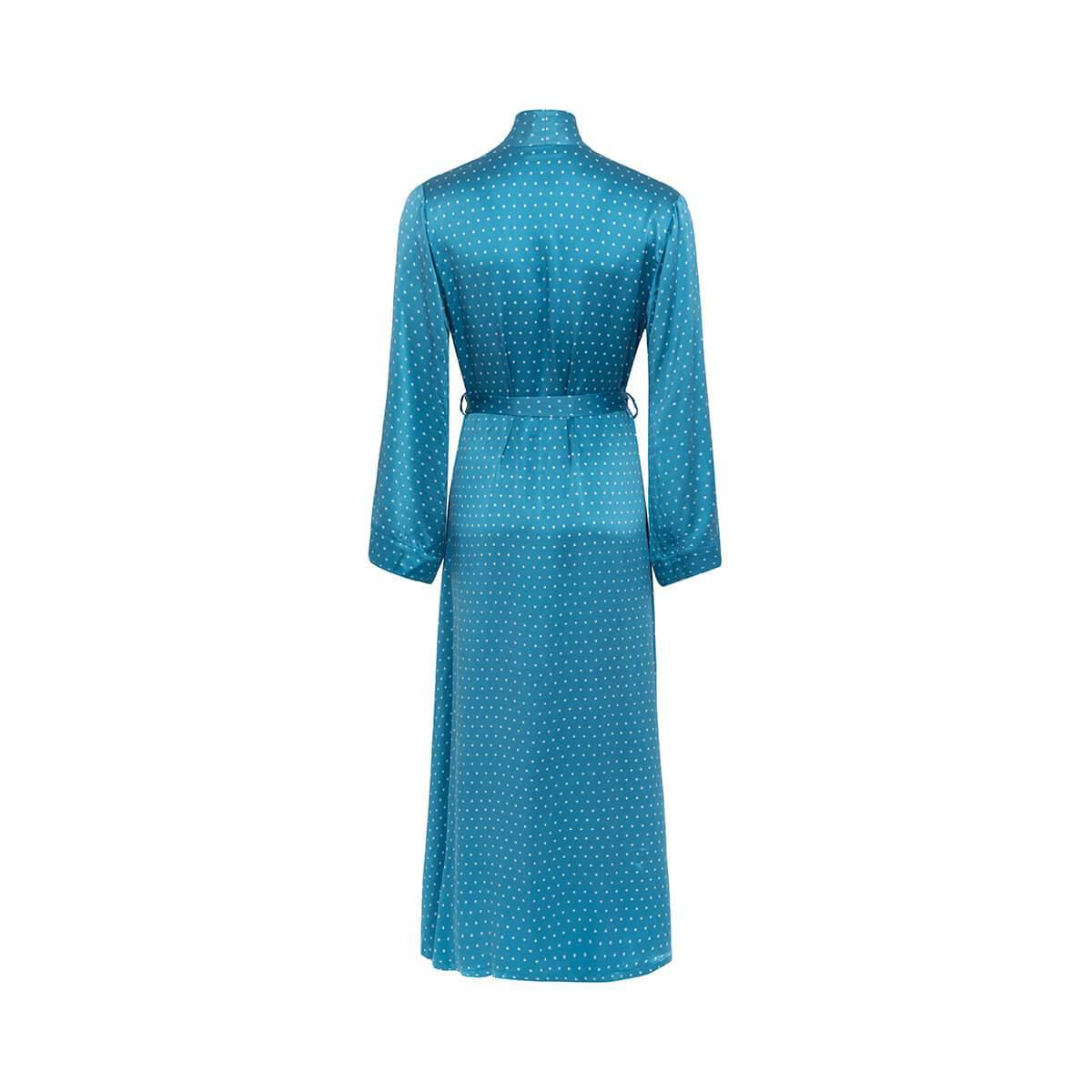 Alice   Astrid Polka Dot Silk Dressing Gown in Blue - Lyst 17f40bbe0