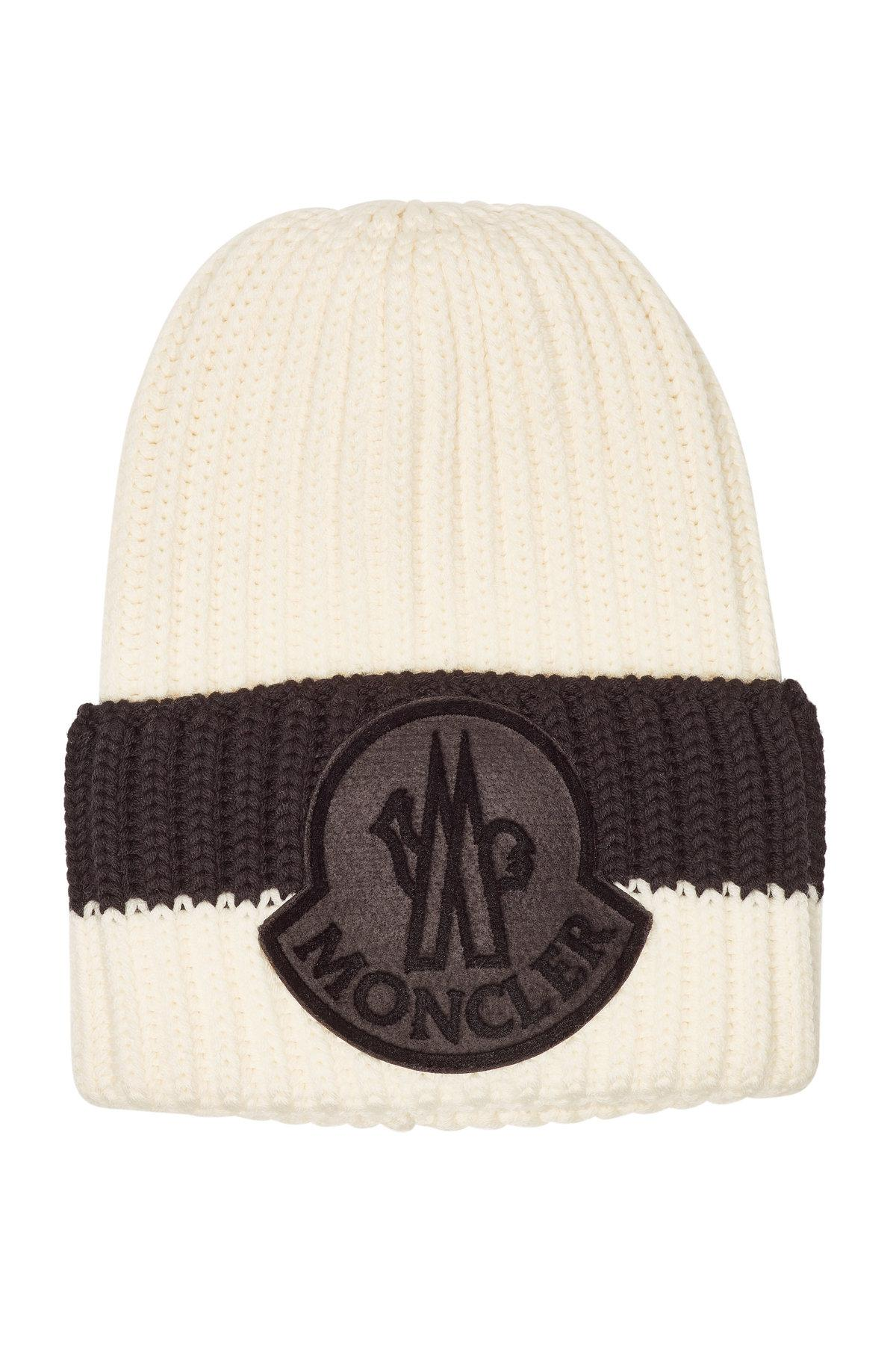03c646ea96d Moncler Virgin Wool Hat in Brown for Men - Lyst