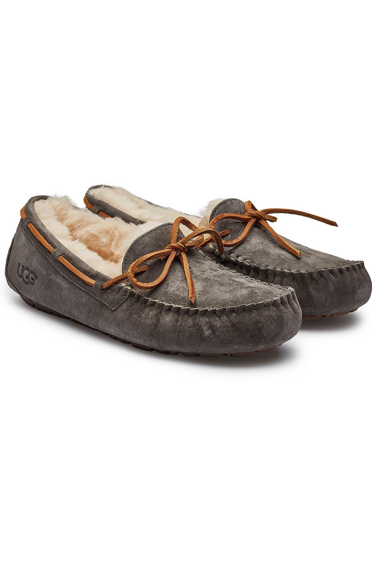 1bf1c9afe7b Women's Gray Dakota Suede Slippers With Shearling Insole