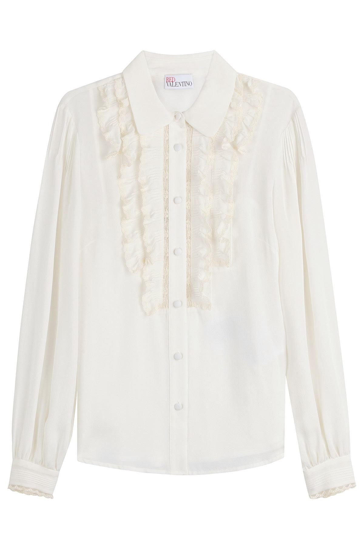 Valentino Woman Lace-trimmed Pleated Silk Crepe De Chine Blouse Cream Size 40 Valentino Geniue Stockist Cheap Price Clearance Marketable N3zOxi1Uc