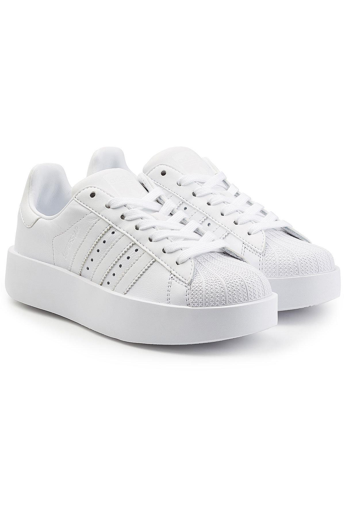 Adidas Originals Superstar Platform Leather Sneakers In