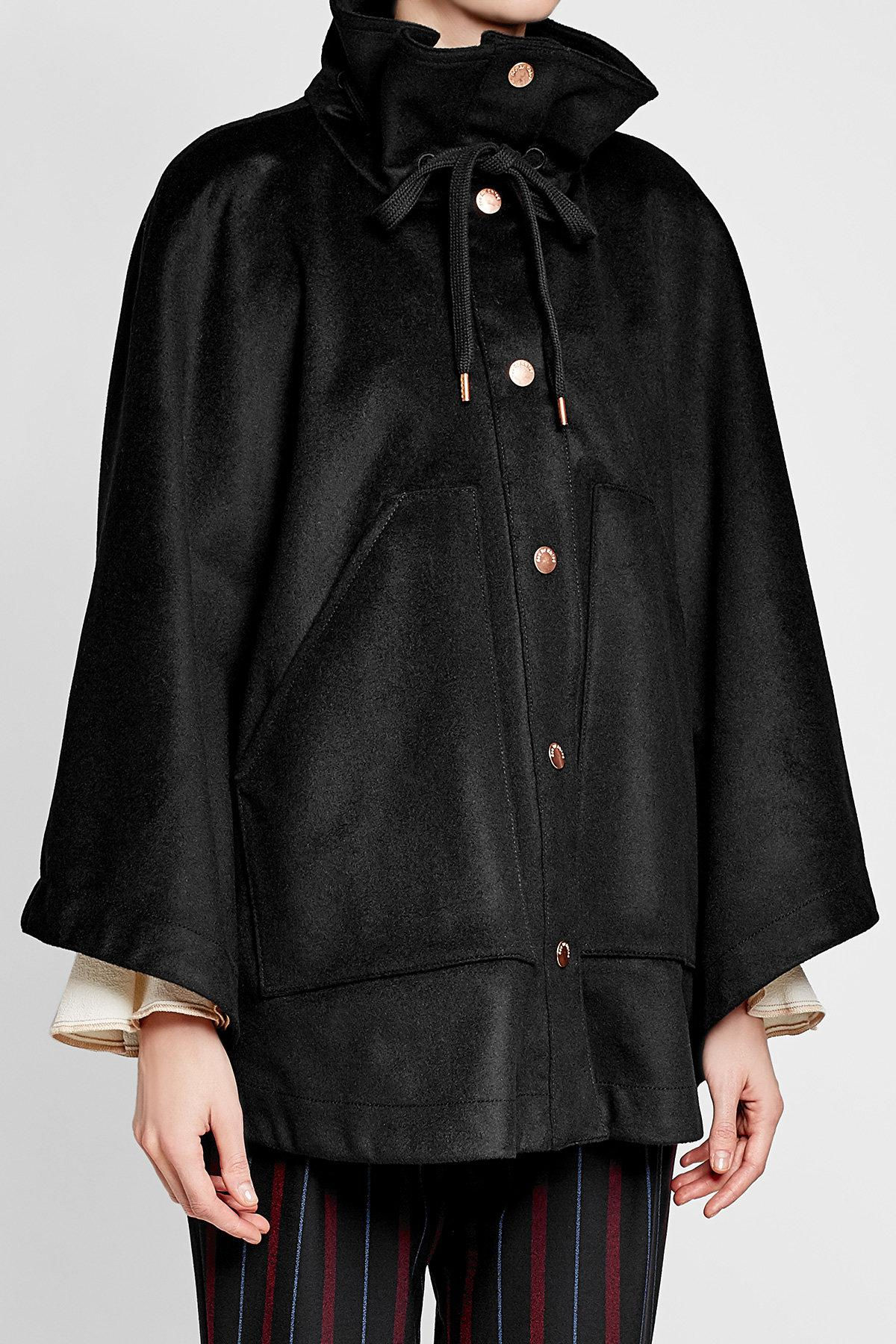 cdcfdb8f3b See By Chloé Cape Coat With Wool in Black - Lyst