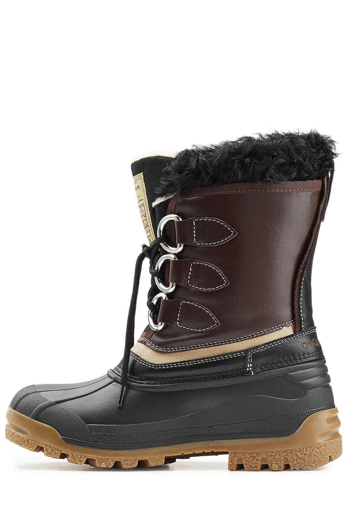 dsquared 178 rubber boots with leather and shearling in black