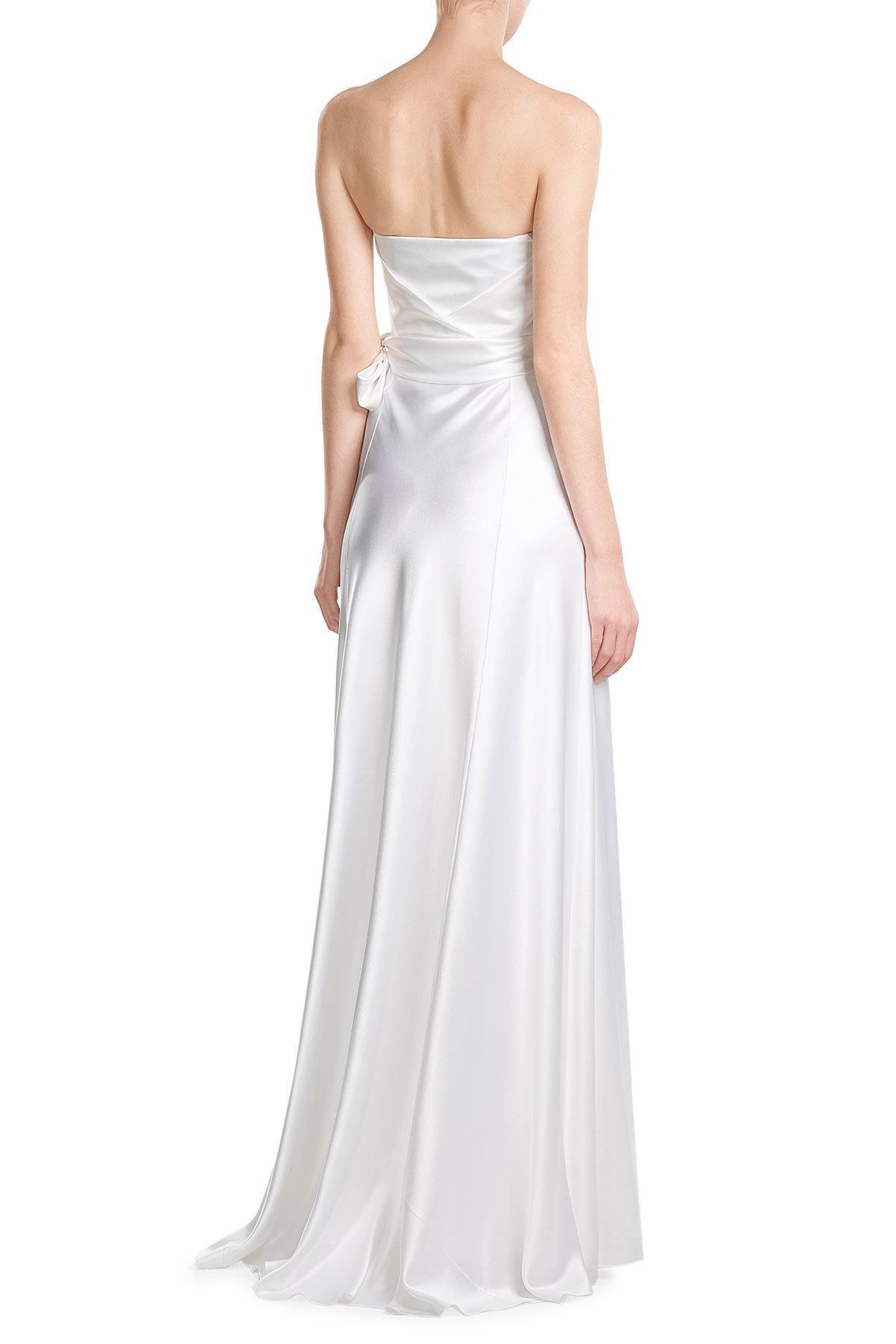 Alberta Ferretti Silk Satin Floor Length Gown In White Lyst