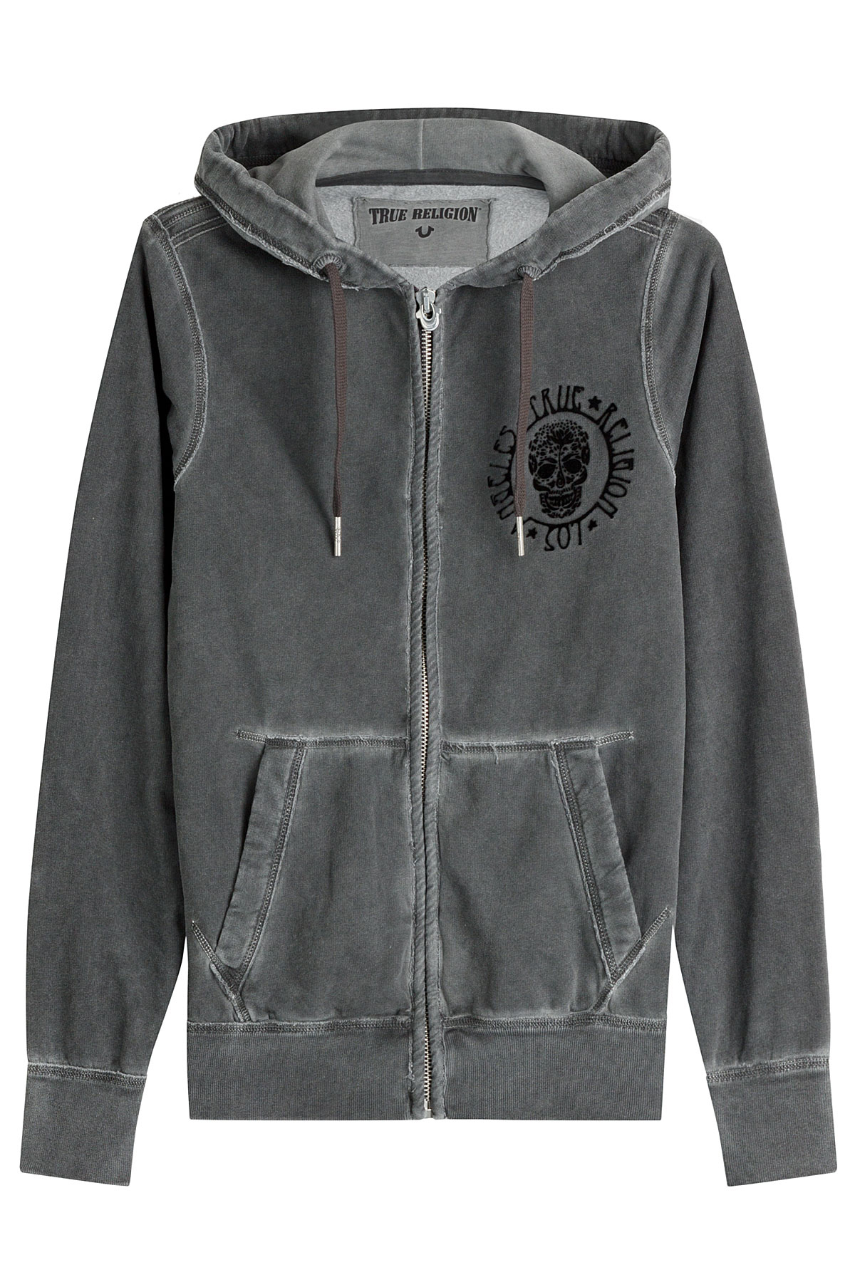 true religion zipped cotton hoodie grey in gray for men lyst. Black Bedroom Furniture Sets. Home Design Ideas