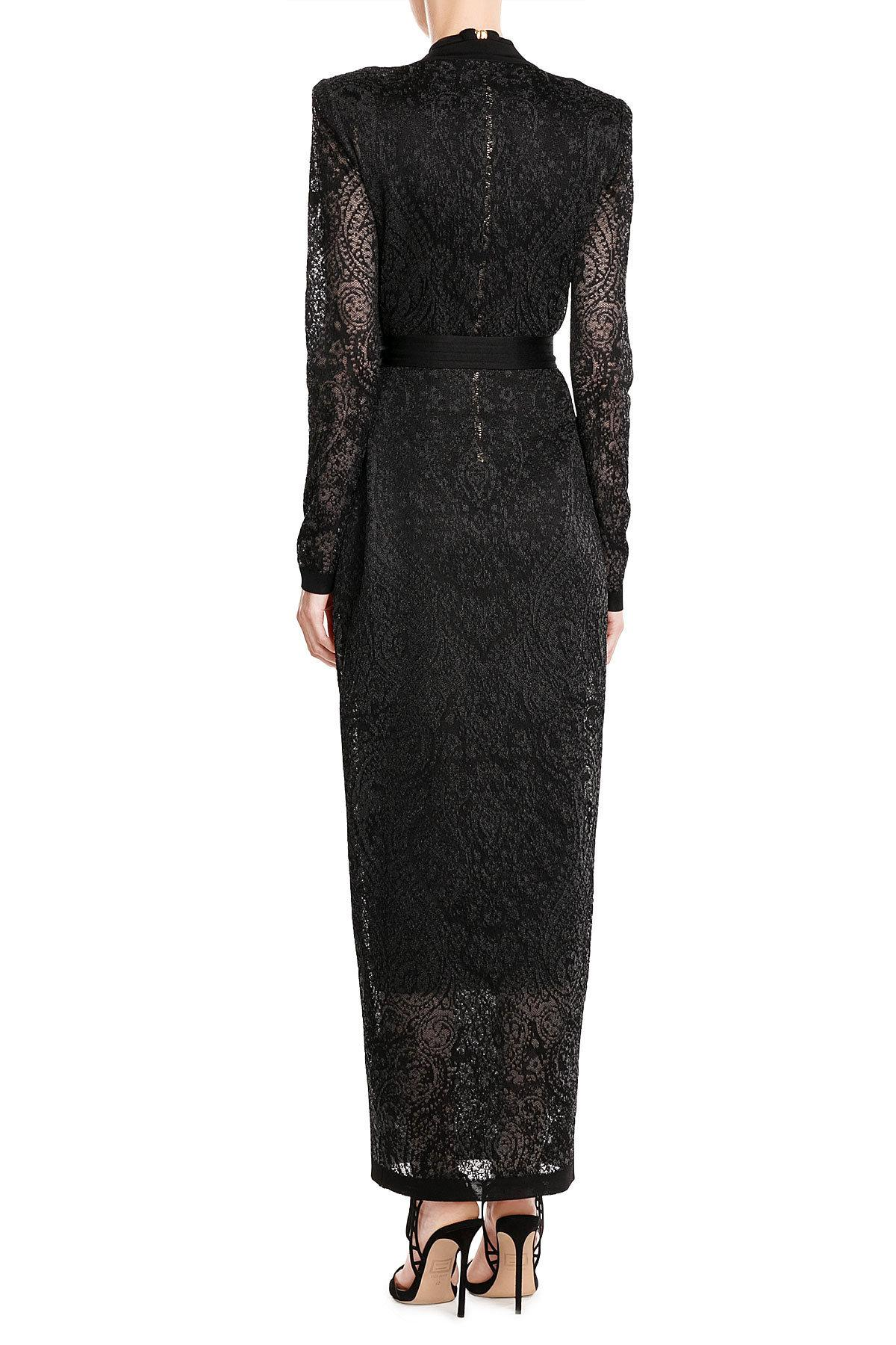 Lyst Balmain Floor Length Knit Cardigan In Black