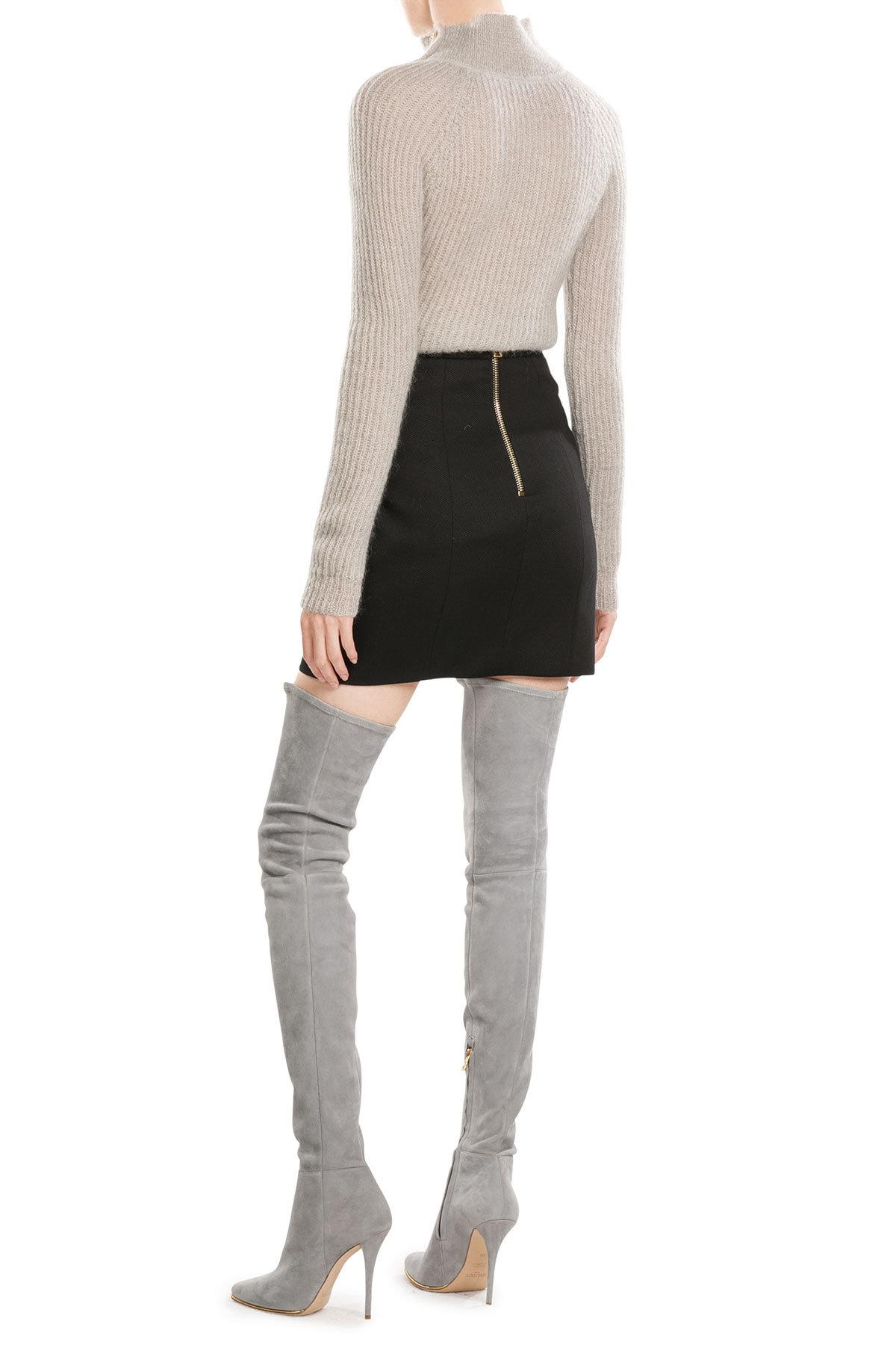 Lyst Balmain Suede Thigh High Boots In Black