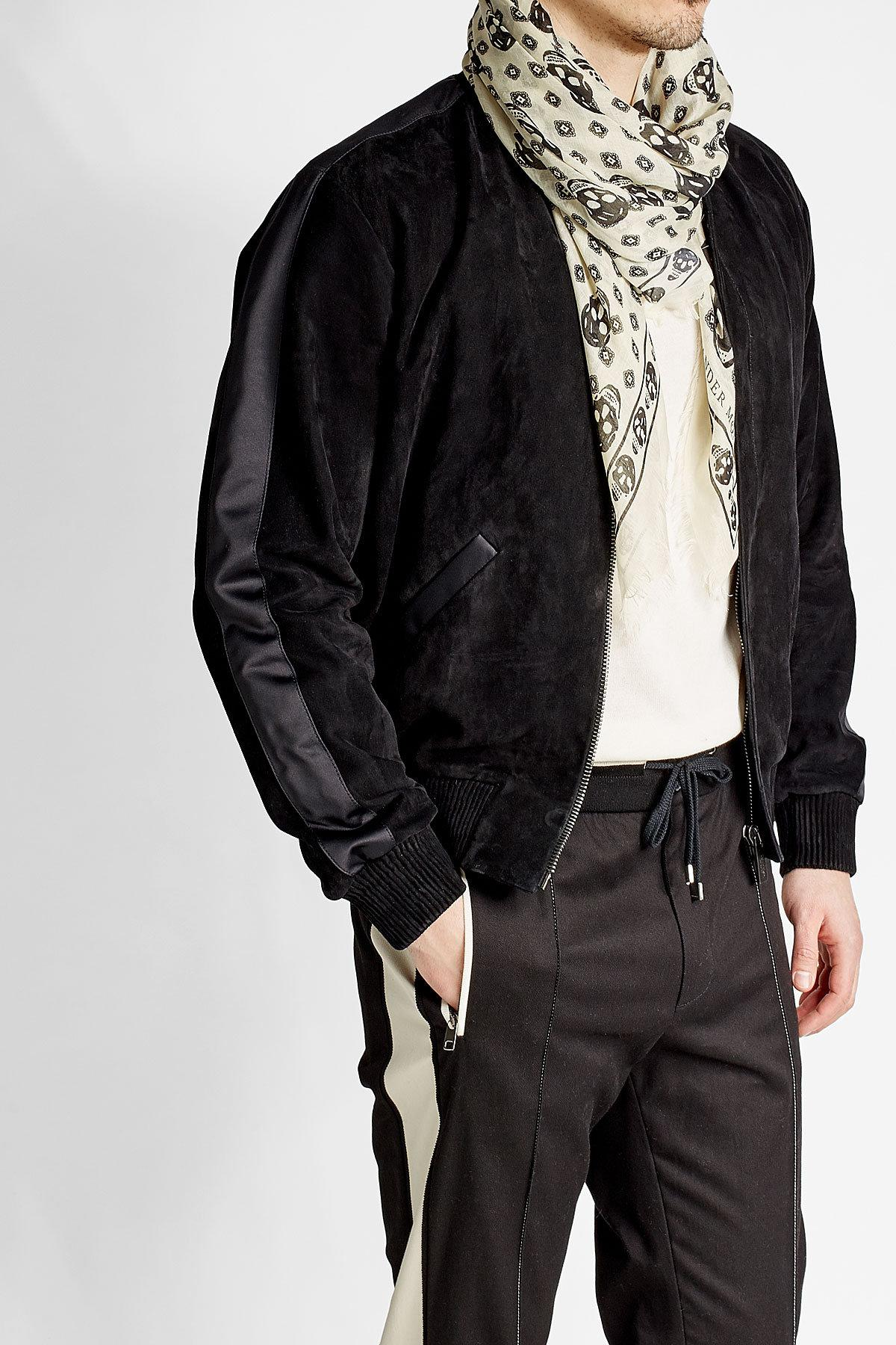 Alexander mcqueen Printed Scarf With Silk for Men | Lyst