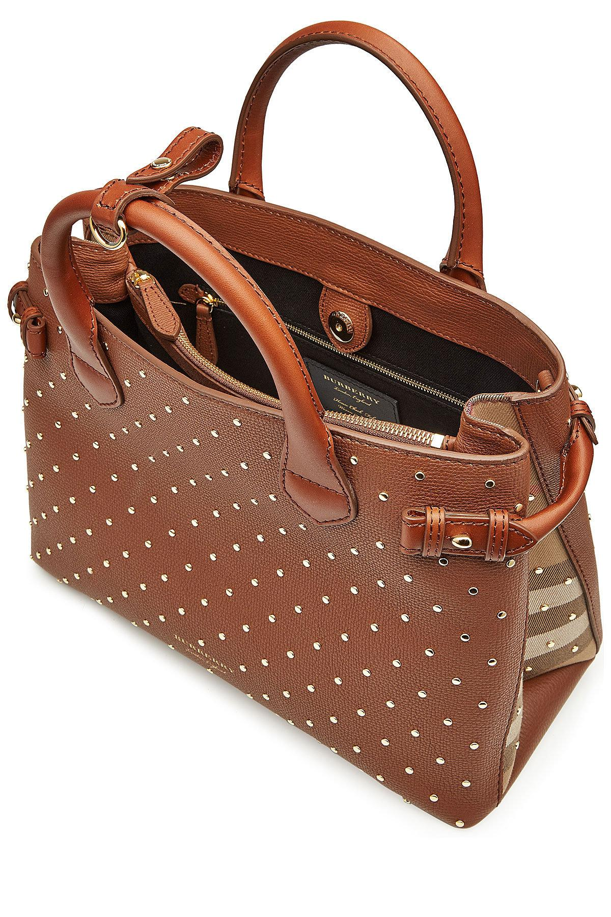 04399eafb5c8 Lyst - Burberry Medium Banner Leather Tote With Studs in Brown